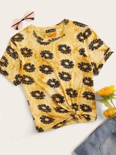 Floral Print Tie Dye Top