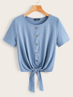 Rib-Knit Button Front Knot Top
