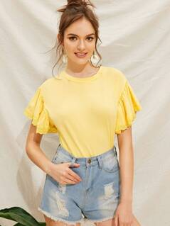 Solid Eyelet Embroidered Ruffle Armhole Tee