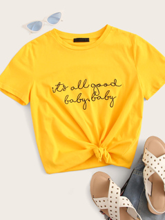 Neon Yellow Slogan Print Top