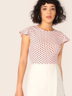 Polka Dot Butterfly Sleeve Top