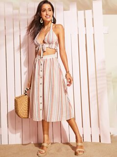 Shirred Halter Top & Button Through Striped Skirt Set