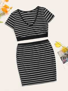Striped Rib-knit Crop Top and Bodycon Skirt Set