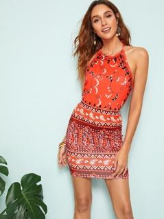 Halter Neck Top & Aztec Print Skirt Set