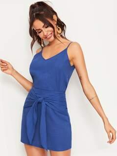 Solid Cami Top & Belted Skirt Set