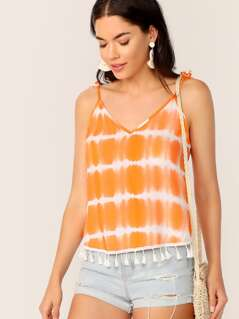 Knot Shoulder Tie Dye Cami Top