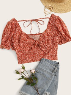 Ditsy Floral Tie Front Puff Sleeve Crop Top