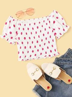 Off Shoulder Frill Trim Shirred Polka Dot Top