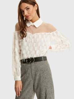 Mesh Yoke Layered Fringe Collar Blouse