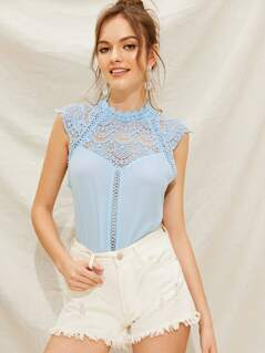 Solid Guipure Lace Insert Sleeveless Top