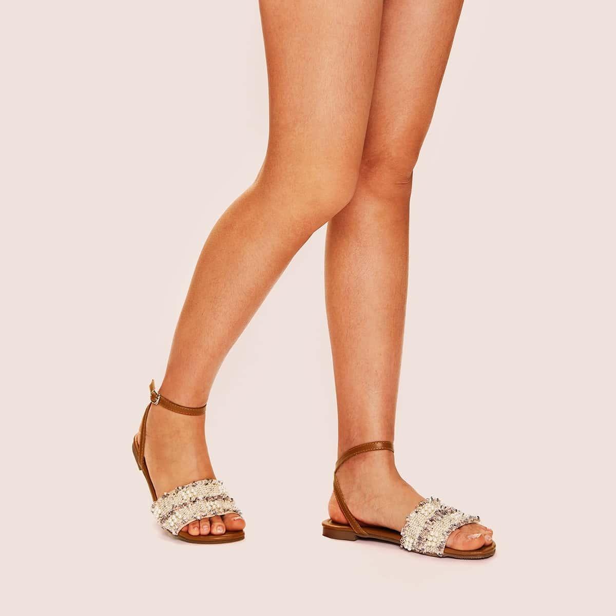 Beige Comfortabel Sandalen