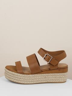 Double Band Buckled Ankle Jute Platform Sandals