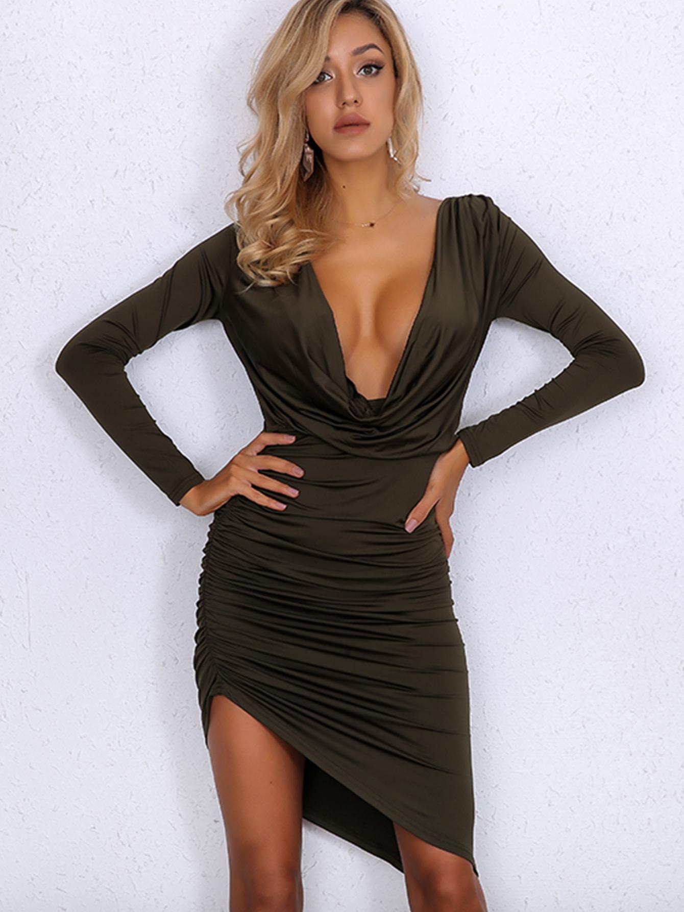 78a92314d667 Joyfunear Asymmetrical Hem Ruched Detail Draped Dress, null - shein ...