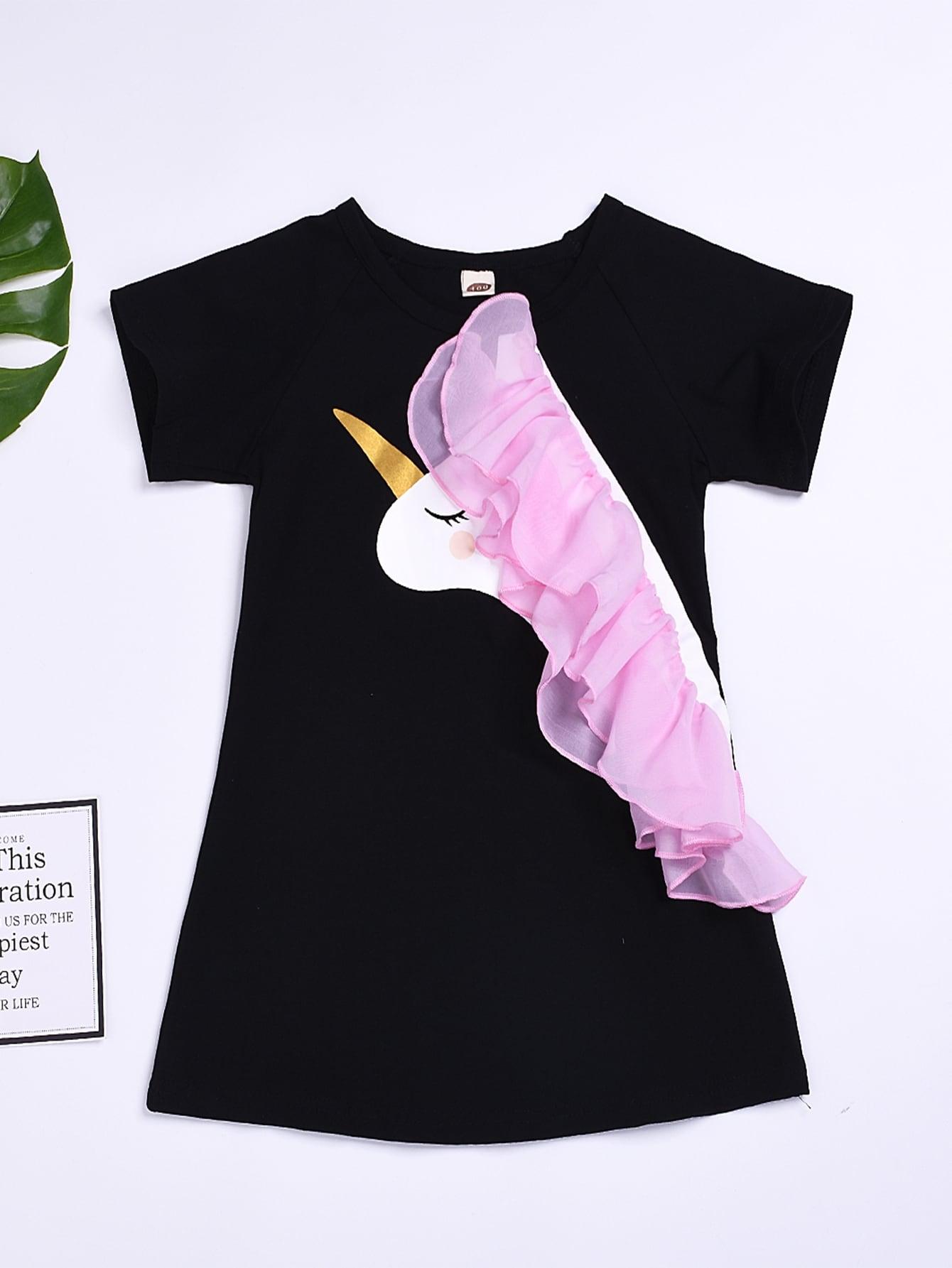Фото - Платье с принтом и контрастной сеткой для девочек от SheIn цвет чёрные