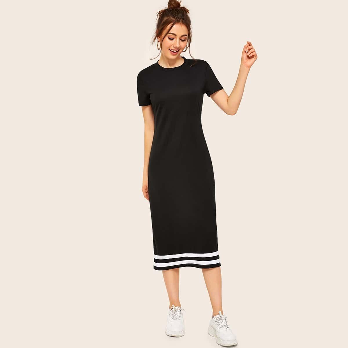 Платье с контрастной полосатой лентой Image