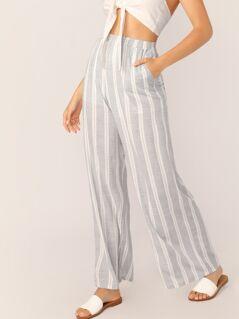 Elastic Waist Wide Leg Palazzo Stripe Pants