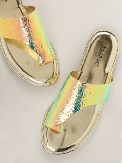 Iridescent One Sided Toe Loop Band Slide Sandals