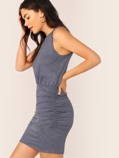 Crew Neck Racerback Shirred Sides Tank Dress