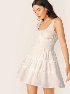 Sleeveless Linen Smocked Tiered Ruffle Dress