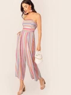 Strapless Side Pockets Stripe Jumpsuit