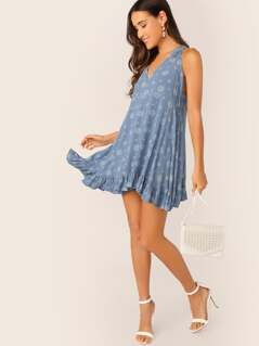 V-Neck Halter Moroccan Print A-line Swing Dress