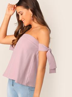 Off Shoulder Knot Sleeve Top