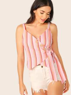 V-Neck Asymmetric Button Up Side Tie Stripe Tank