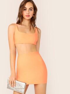 Tie Back Bra Top And Mini Pencil Skirt Set