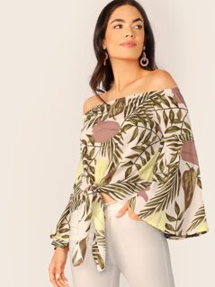 Flared Sleeve Tie Hem Tropical Leaf Print Blouse