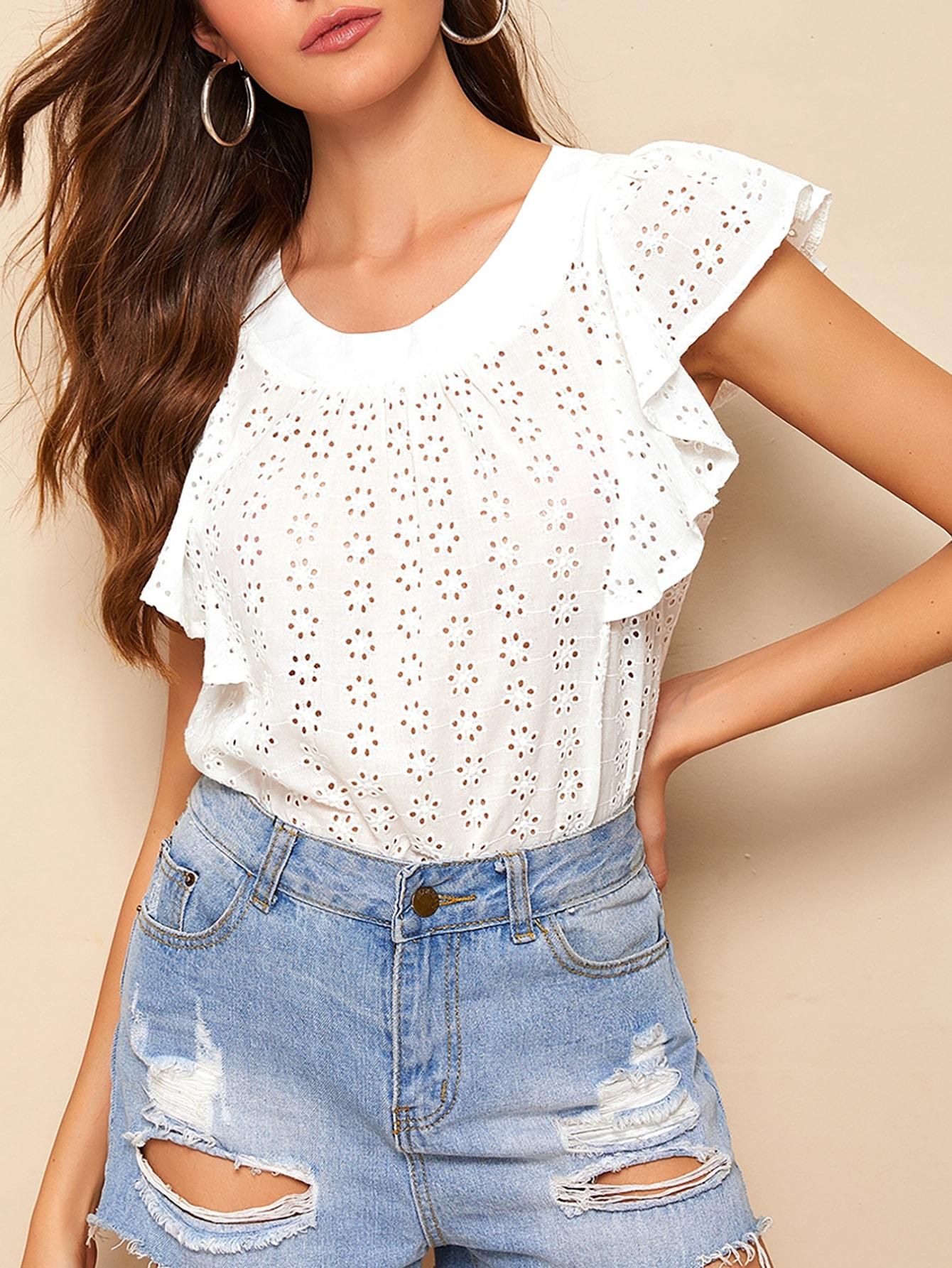 Фото - Блузу с оборками на рукавах от SheIn белого цвета
