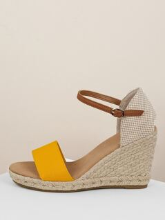 Open Toe Single Band Buckled Ankle Wedge Sandals
