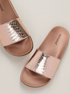 Metallic Snakeskin Wide Strap Slide Sandals