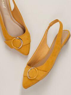 Pointy Toe Buckle Detail Slingback Open Heel Flats