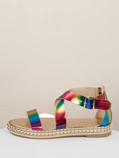 Rainbow Cross Buckled Straps Stud Trim Sandals