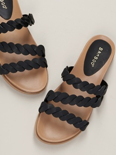 Triple Braided Strap Flat Slide Sandals