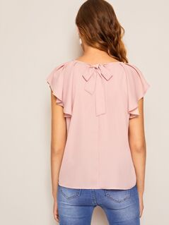 Tie Back Raglan Ruffle Shoulder Solid Blouse