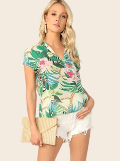 V-neck Dip Hem Tropical Print Blouse