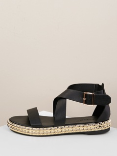 Strappy Wrap Buckled Ankle Stud Sandals