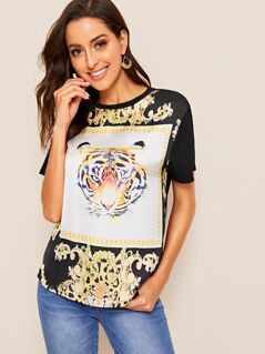 Mixed Print Curved Hem Blouse