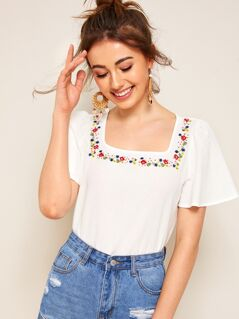 Embroidered Floral Square Neck Blouse