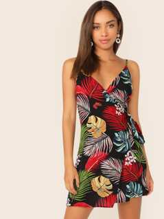 Tropical Print Tie Side Wrap Slip Dress