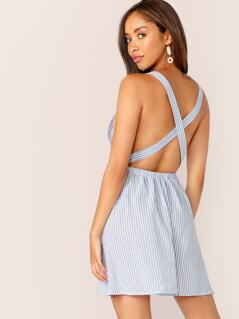 Crisscross Backless Striped Dress