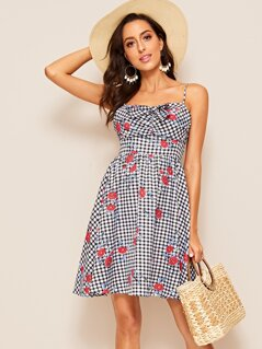 Tie Front Floral Print Gingham Slip Dress