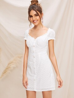 Ruffle Trim Single Breasted Schiffy Dress