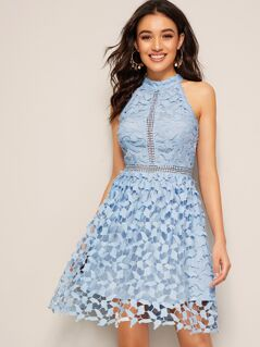 Guipure Lace Overlay Halter Dress