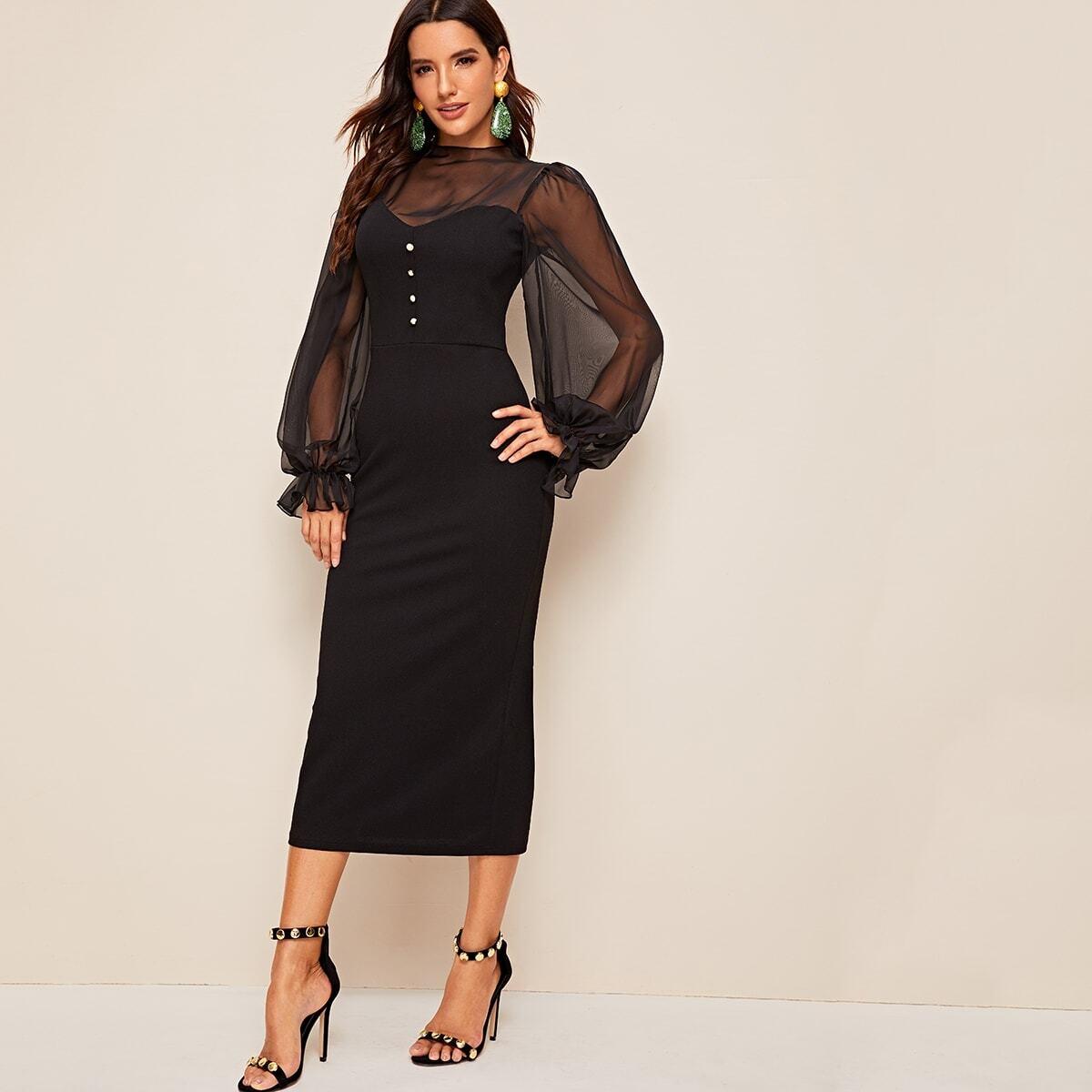 Платье с пуговицами и контрастной сеткой Image