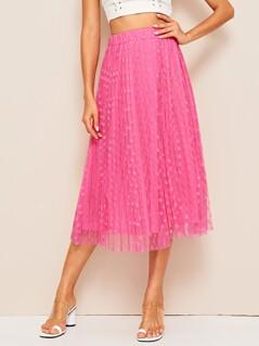 Dobby Mesh Elastic Waist Skirt