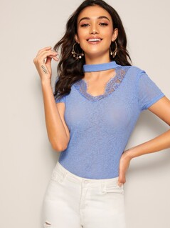 Choker Neck Lace Insert Top