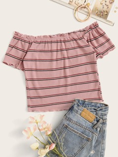 Rib-Knit Striped Lettuce Trim Crop Top