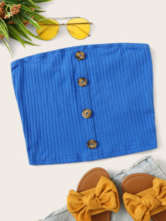 Rib-Knit Buttoned Bandeau Top
